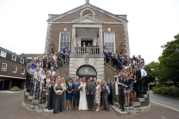 "alt=""Poole Guildhall wedding group photo"""